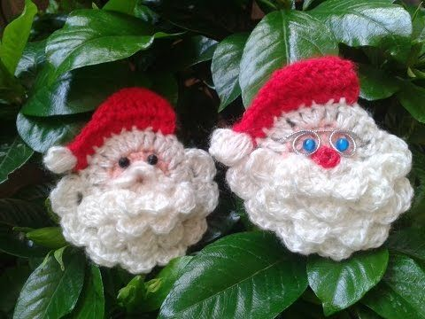 Crochet santa face/head ornament tutorial - YouTube