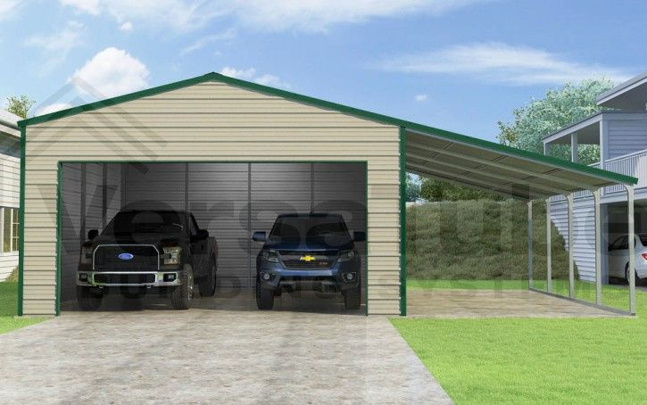 Frontier Garage With Lean To 20 X 20 X 10 Garage Or Building Building Kits Lean To Metal Garage Kits Building