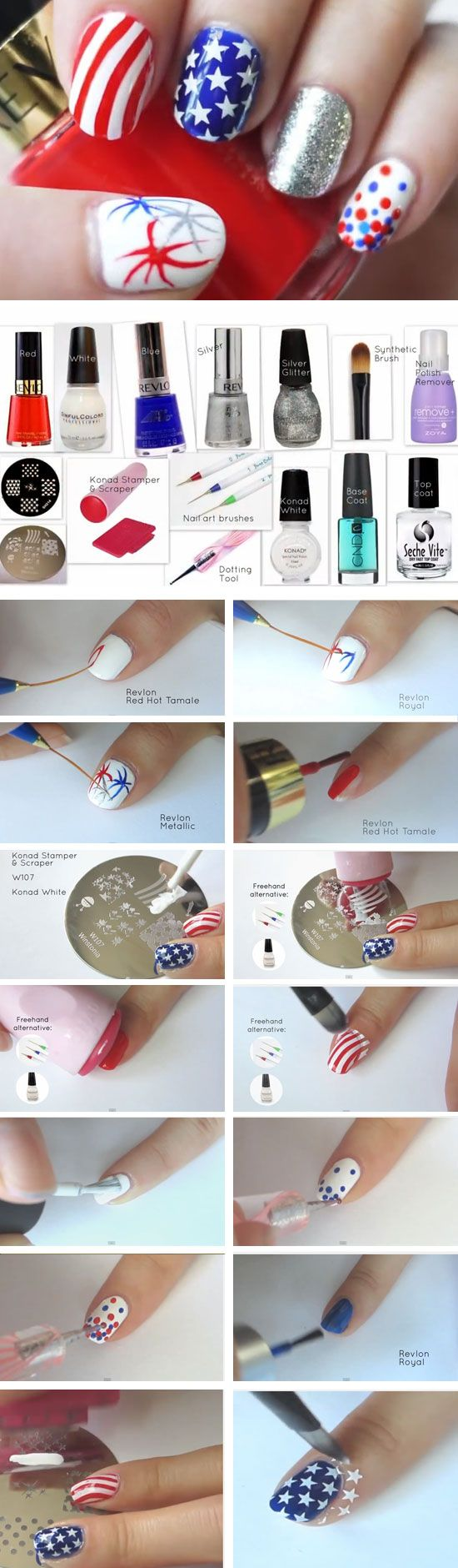 Konad Stamping Fireworks | DIY Memorial Day Nails Red White Blue | Cute July 4th Nails for Kids