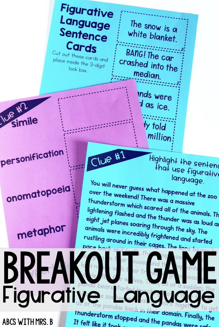 Do you use breakout games in your classroom? They are great for team building, community and problem solving! I created a breakout game for figurative language with 5 types included.