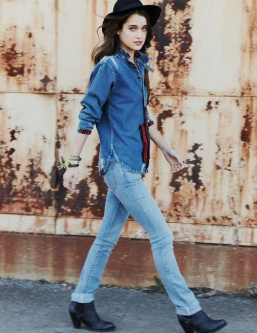 denim on denim only if they're recognizably different colours. don't get caught in the canadian tuxedo.
