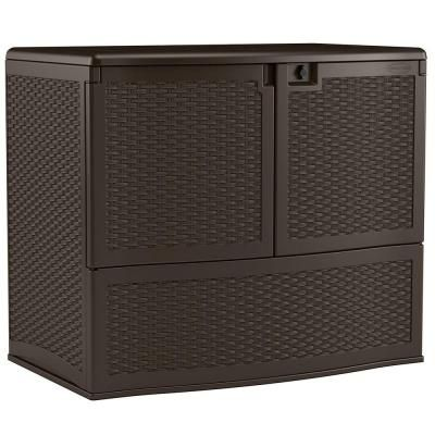 Large deck box to double as entertainment center.48 in. W x 30 in. D x 41 in. H.   Suncast Backyard Oasis 195 Gal. Vertical Deck Box-VDB19500J - The Home Depot