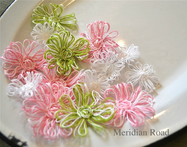 Oh, my, I CAN make them in spring colors. What a lovely spring garland that would make!
