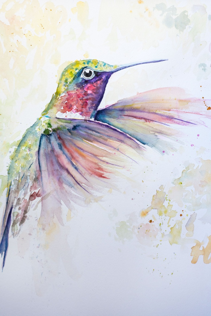 Original Watercolour Humming Bird  painting print  8x10