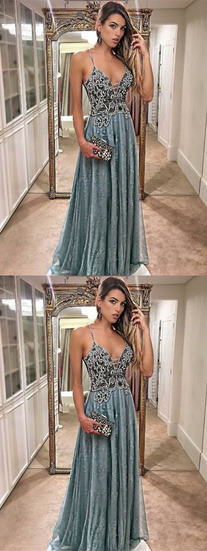 A-Line Spaghetti Straps Floor-Length Dark Blue Prom Dress with Beading, M1561