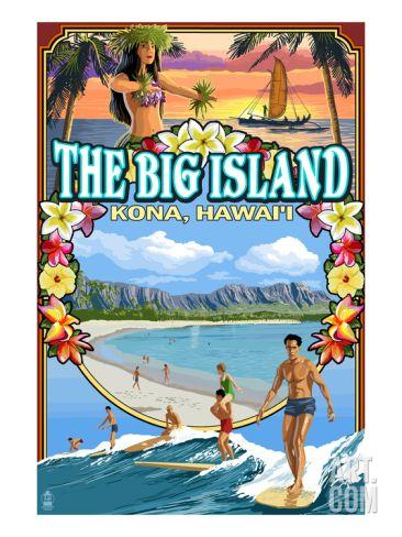 Kona, Hawaii - Montage Scene Art Print by Lantern Press at Art.com