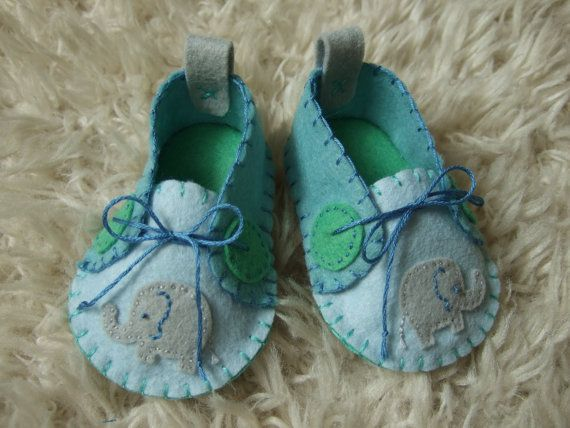 Baby Elephant Felt Baby Shoes - Can Be Personalized