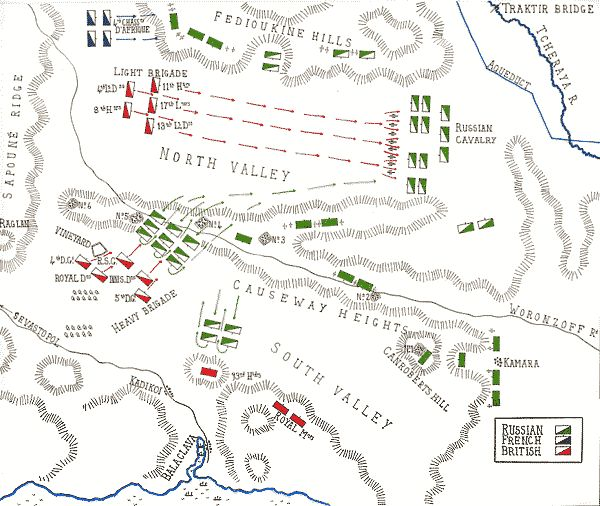 Force deployment map of the Battle of Balaclava.