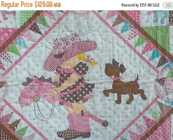 Cowgirl Quilt, Western Bandana, Girl Blanket, Country Brown Pink Green, Crib Bedding, Nursery Decor, Crib Cot Stars Horseshoes Stick Horse