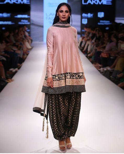 PAYAL SINGHAL Benu Anarkali with a matching black fish scale Patiala salwar pants.