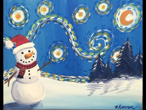 How To Paint A Snowman Starry Night - Step By Step Painting