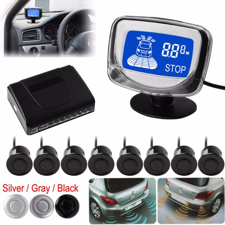 Weatherproof 8 Rear Front View Car Parking Sensor 8 Sensors Reverse Backup Radar Kit System with LCD Display Monitor ** Click the VISIT button to enter the website
