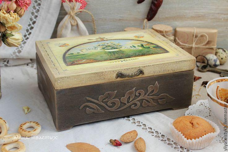"""Купить Чайная шкатулка """"Ромашковое поле"""" - разноцветный, шкатулка для чая, шкатулка декупаж, шкатулка деревянная"""