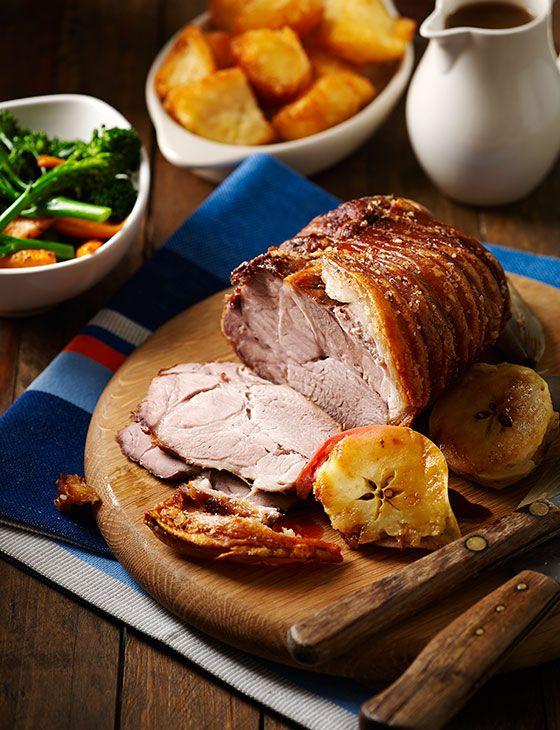 Roast shoulder of pork with crackling and cider gravy