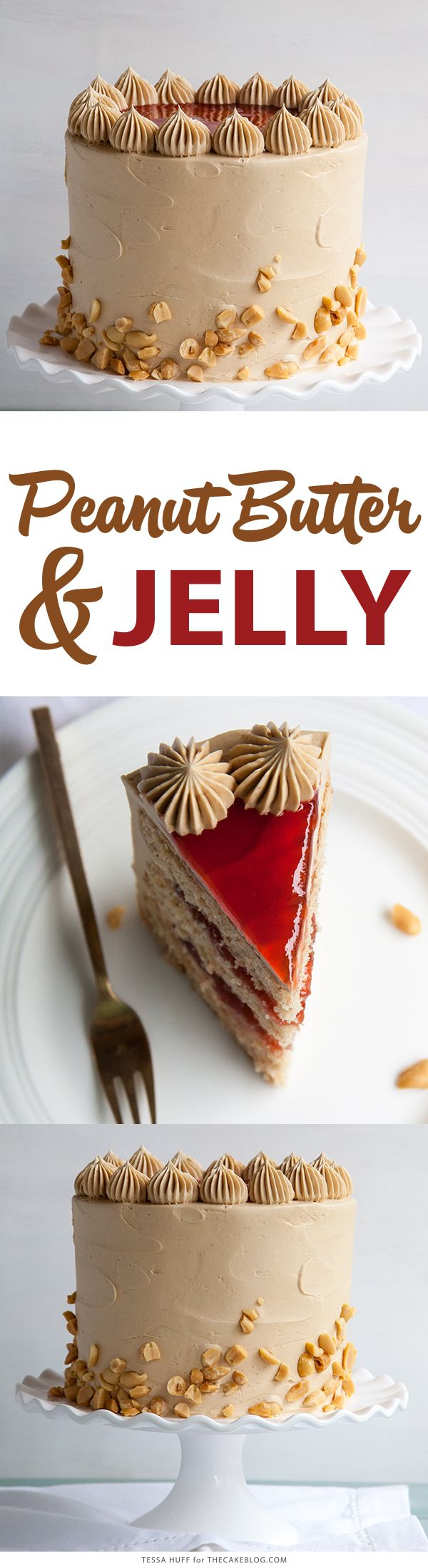 Peanut Butter and Jelly Cake - Peanut butter cake with brown sugar peanut butter frosting, strawberry jam and chopped peanuts.