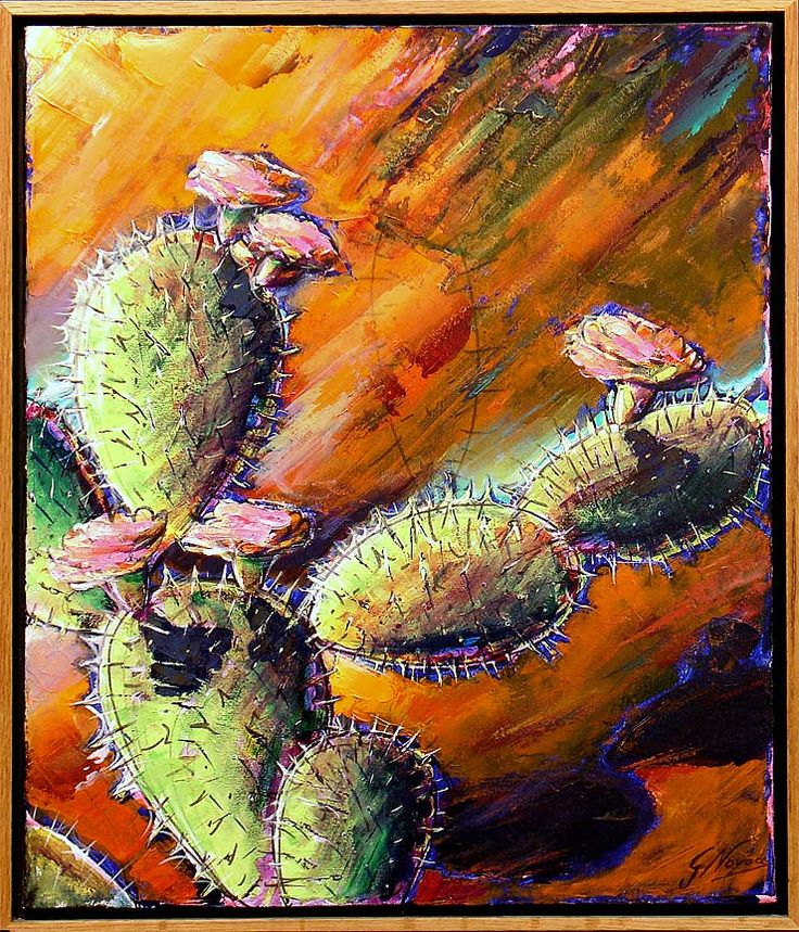 Details about gustavo novoa opuntia cacti signed original