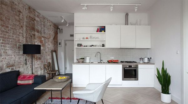 Studio Apartment Minimalist ethnic inspired interior of a minimalist apartment in poland
