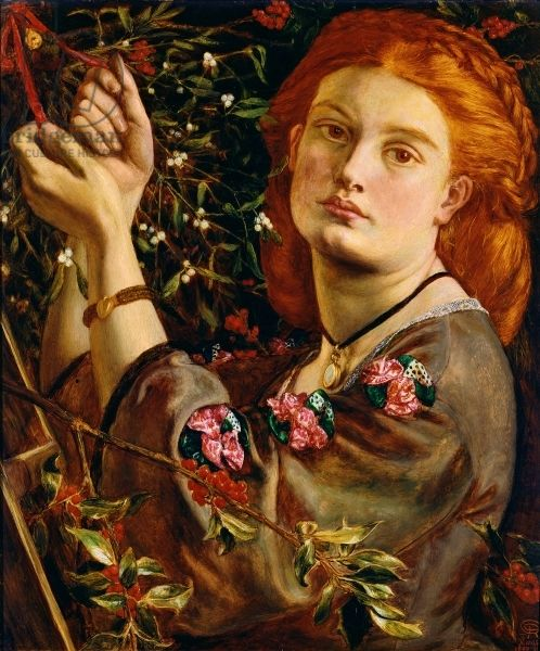 ⊰ Posing with Posies ⊱ paintings of women and flowers - Dante Gabriel Rossetti   Hanging the Mistletoe, 1860