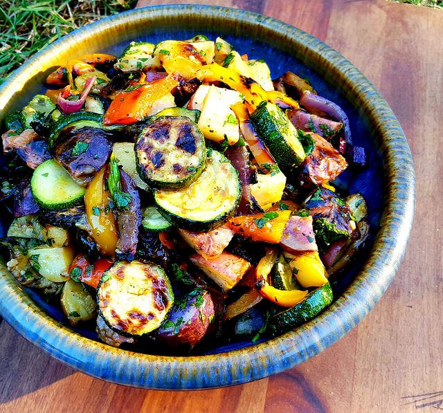 Grilled Vegetable Salad with Chimichurri - Potatoes play only a supporting role in this flavor-packed grilled salad.