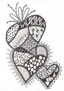 Zentangle hearts, did this stuff while taking notes in college. Why didn't I keep them?!