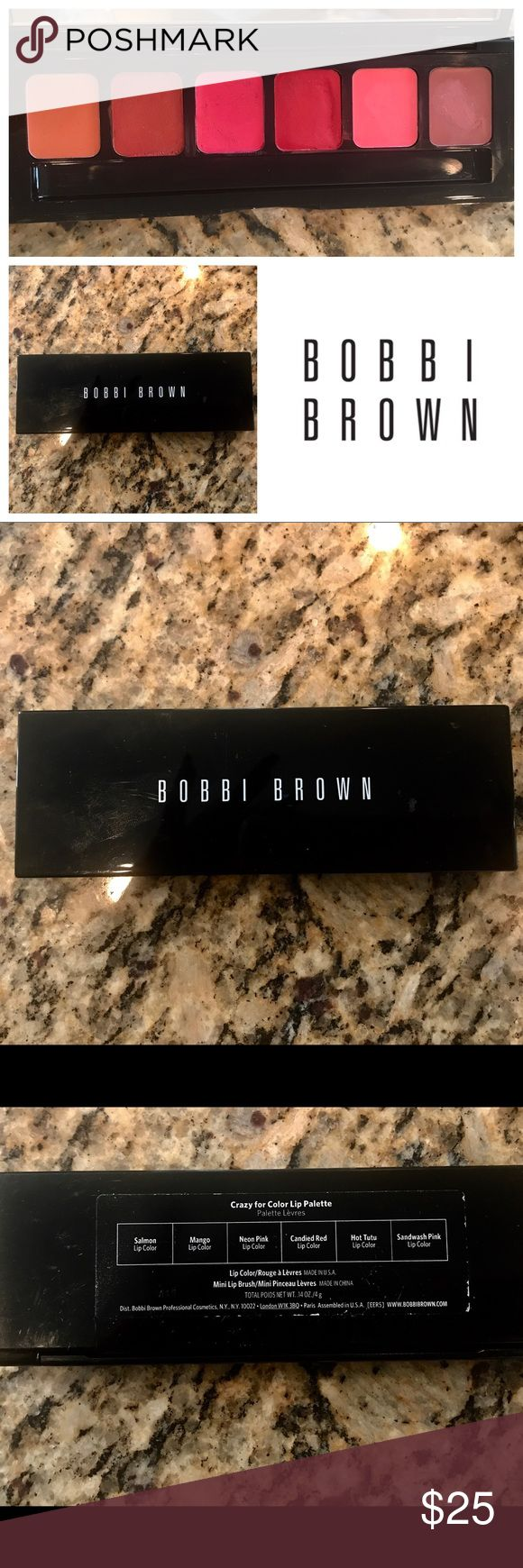 Bobbi Brown Lipstick Palette Bobbie Brown lipstick palette X 6    This has been swatched for a makeup review but I've sanitized it with professional makeup sanitizer wipes from Beauty So Clean. I'm also include two packages of the sanitizer for your peace of mind.   I'm a professional makeup artist and clearing out my items because I'm moving. Grab up the deals on super high End products. Bobbi Brown Makeup Lipstick