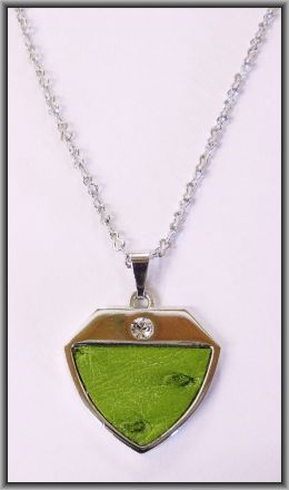 Ostrich leather crystal small pendants - Chartreuse OPSB02