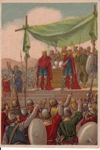 Les serments de Strasbourg, chromo Gibert-Clarey- SERMENTS DE STRASBOURG,INTRODUCTION, 1: Les Serments de Strasbourg (Sacramenta Argentariae) datent du 14 février 842, et signent l'allaince entre CHARLES LE CHAUVE et LOUIS LE GERMANIQUE, contre leur frère aîné, LOTHAIRE 1°. Ils sont tous 3 les fils de LOUIS 1° LE PIEUX, fils de Charlemagne.