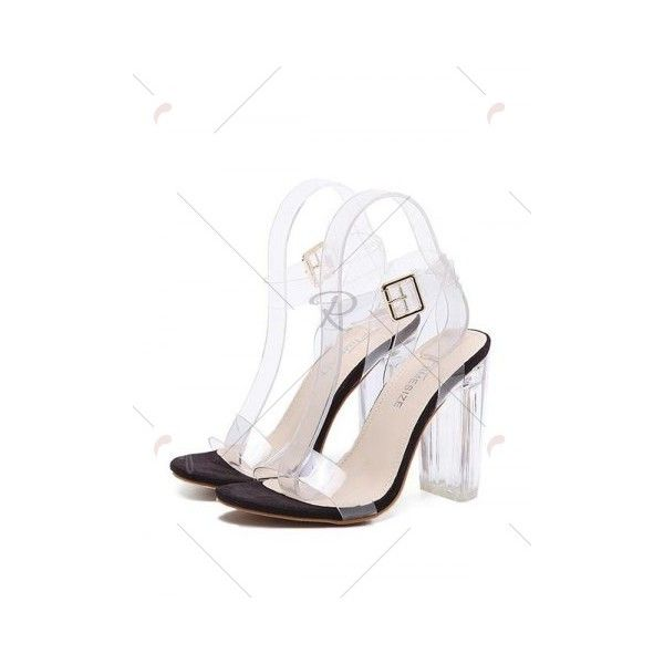 Black Ankle Strap Transparent Plastic Sandals (735 MXN) ❤ liked on Polyvore featuring shoes, sandals, see-through shoes, plastic shoes, plastic sandals, transparent sandals and transparent shoes