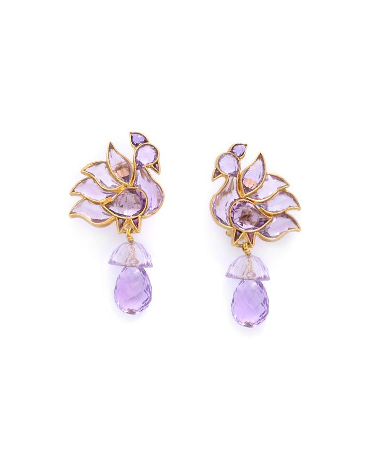Amethyst Bird Earrings - Munnu