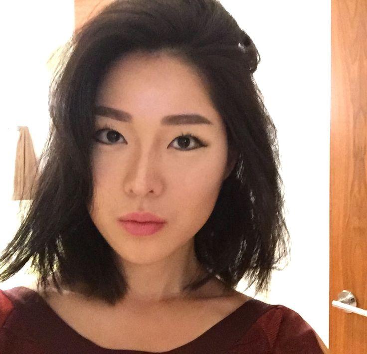 modern short bob, blunt cut, asian hair