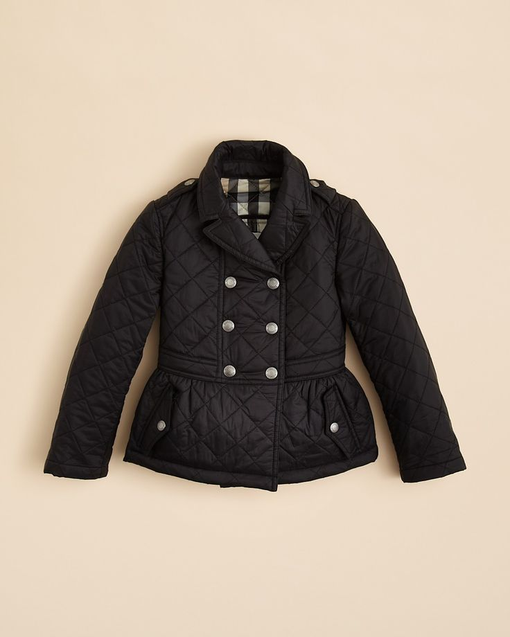 Burberry Girls' Quilted Peplum Jacket - Sizes 4-14 | Bloomingdale's
