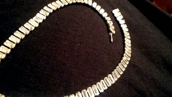 Check out this item in my Etsy shop https://www.etsy.com/listing/268354898/diamante-baguette-rhinestone-choker