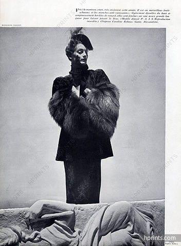 Madeleine Vionnet 1938 Photo Eugène Rubin, Fur Coat, Caroline Reboux