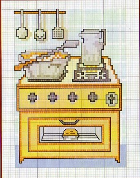 96 best vysivky images on pinterest embroidery for Cross stitch kitchen designs