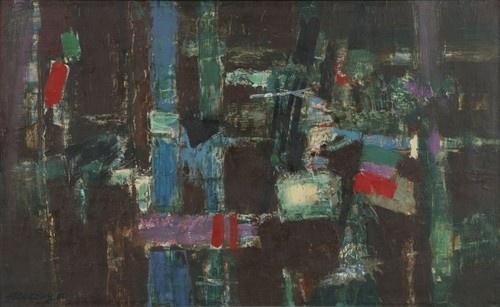 """Jean Couy (1910-1983), Sans Titre, 1962 Huile sur toile signée et datée en bas à gauche """"jeancouy 62"""" h: 34 w: 55cm (via Artcurial)"""