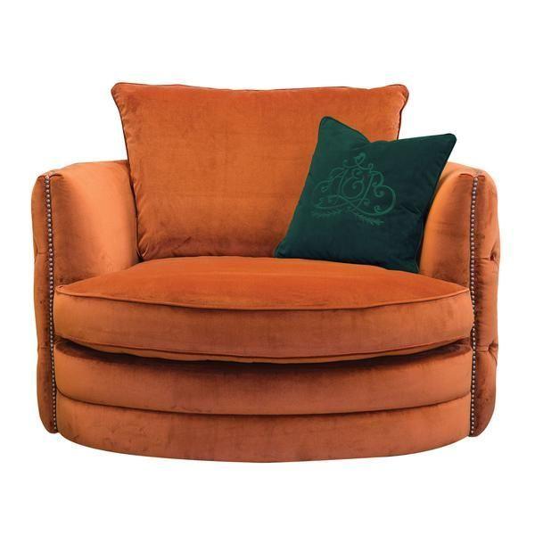 Bayswater Burnt Orange Velvet Swivel Chair Swivelchair Swivel