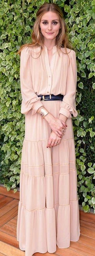 Olivia Palermo: Blush maxi dress with leather belt.