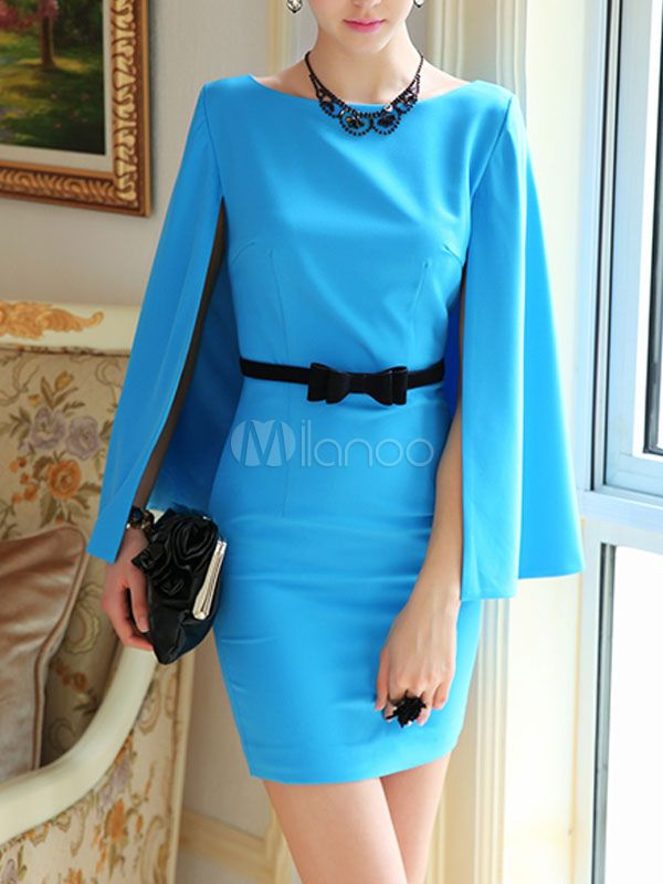 robe bodycon slim bleue unicolore moulant avec cape sans ceinture no3