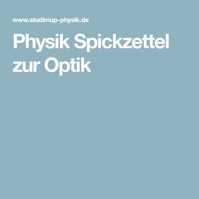 Physik Spickzettel zur Optik