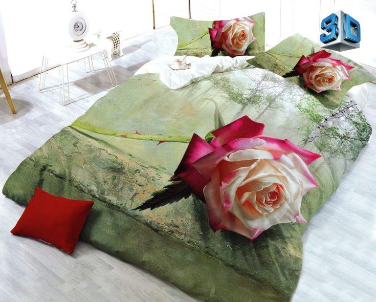 3D posteľné obliečky s ružou