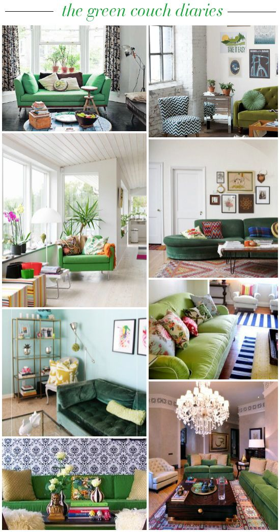 the green couch diaries // green sofa inspiration