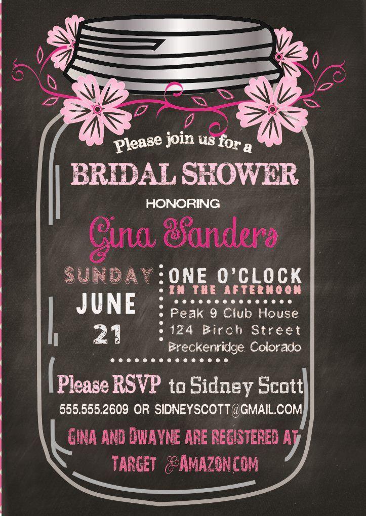 free printable bridal shower games and activities%0A Fun Bridal Shower Invitation Mason Jar in shades of pink