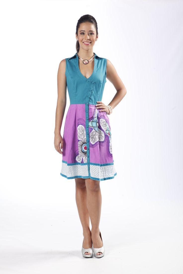 Colección AroIris-Vestido Vainilla, pintado a mano por Croquis