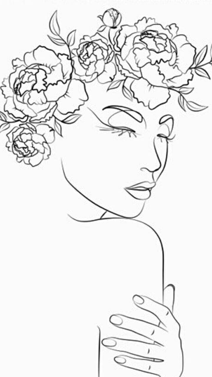 Line drawing printwoman line printblack lady svgone
