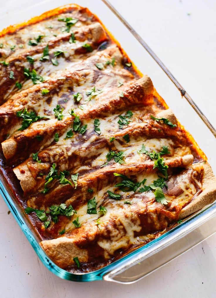Enchiladas with homemade red enchilada sauce! **I used pureed tomatoes instead of chicken broth) cookieandkate.com