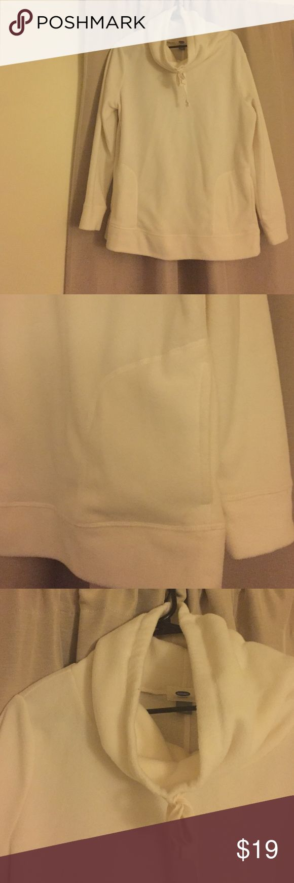 Off white pull over Old Navy sweatshirt Very comfy off-white Old Navy pull over sweatshirt. Polyester material. Women's size M. Like new. Old Navy Tops Sweatshirts & Hoodies