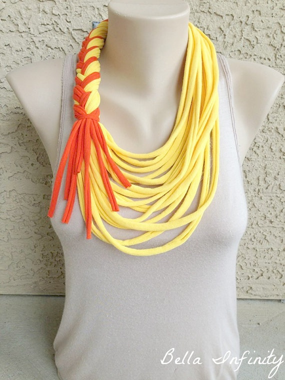 Bella Infinity Braided Scarf Yellow Orange by BellaInfinityScarves, $25.00
