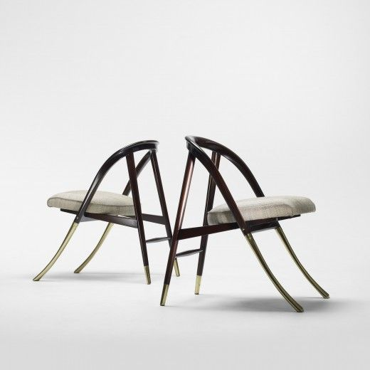 Edward Wormley, # 5481 Mahogany and Brass  'A' Chairs for Dunbar, 1954.