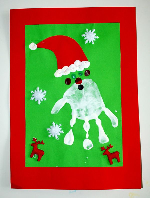 Father Christmas Hand Print Christmas Card Idea