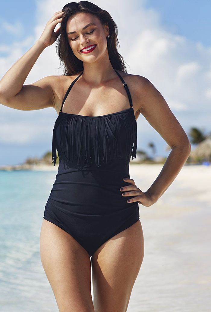 Eclipse Fringe Bandeau/Halter Swimsuit | Plus Size FIT SOLUTIONSTummy Controllers | OneStopPlus